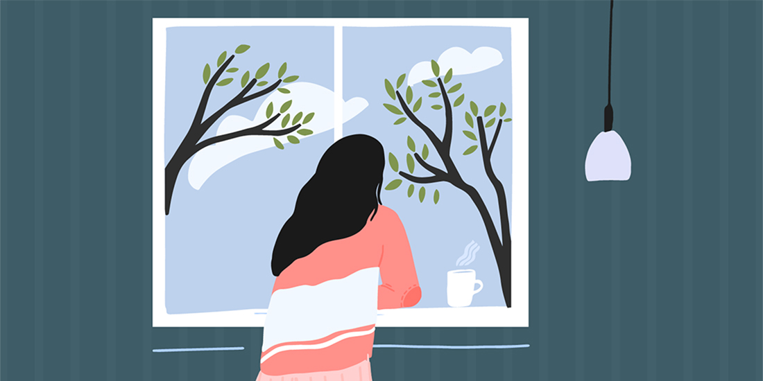 Illustration of girl staring out window