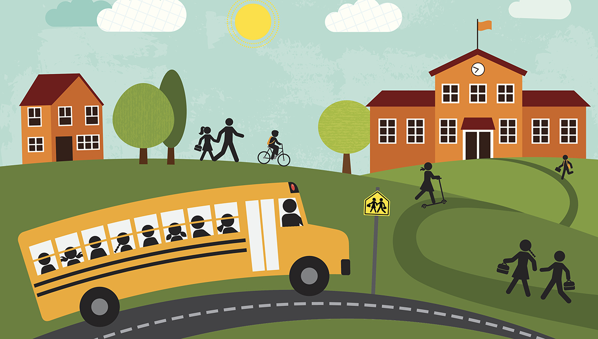 Illustration of parents bringing children to school