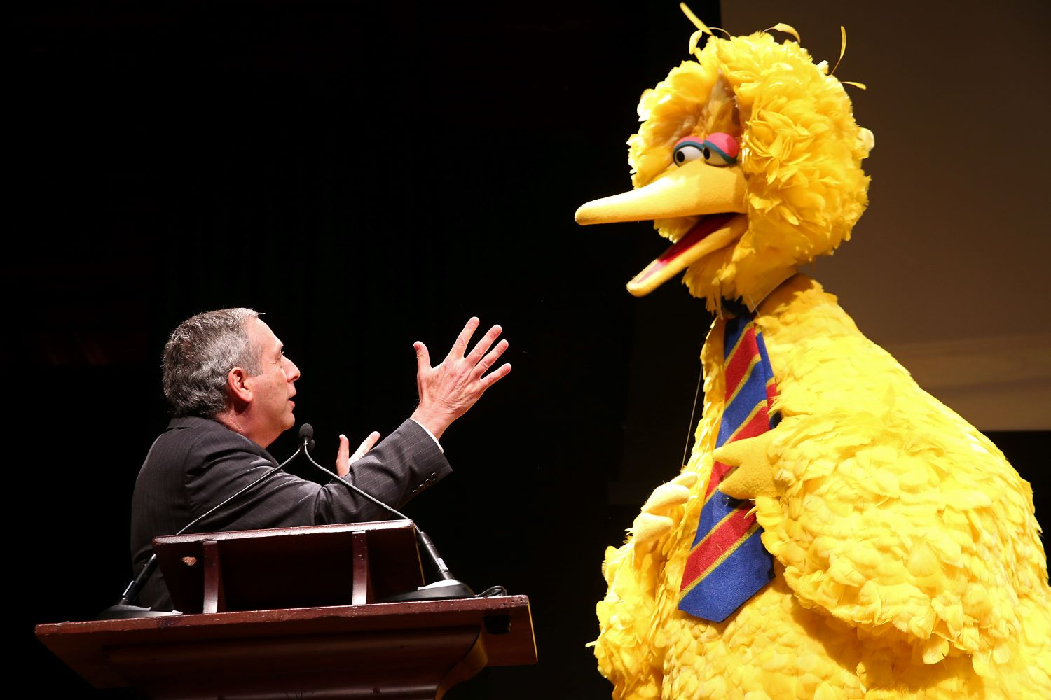 Lawrence Bacow with Big Bird
