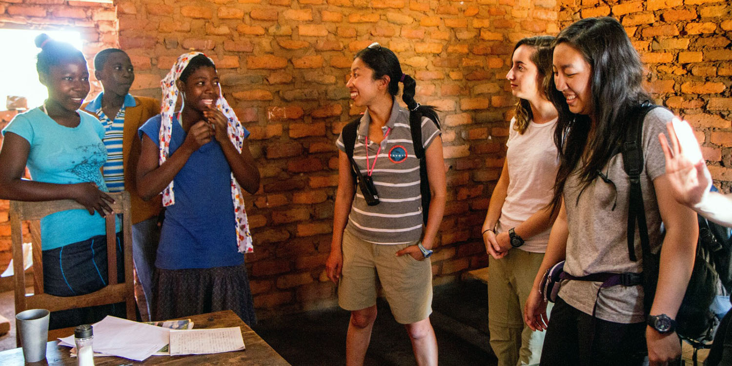 Marina Lee with students in Malawi