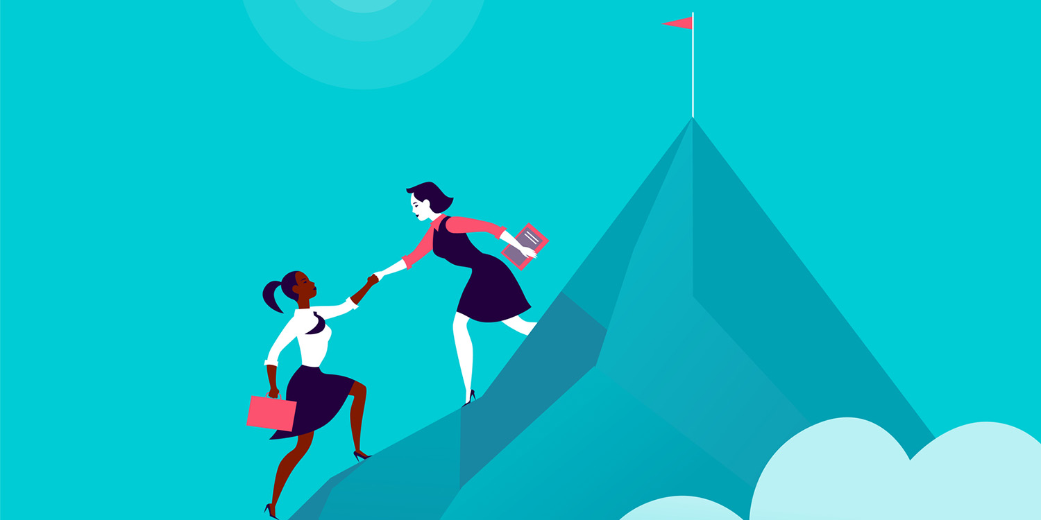 Illustration of a woman helping another woman scale mountain