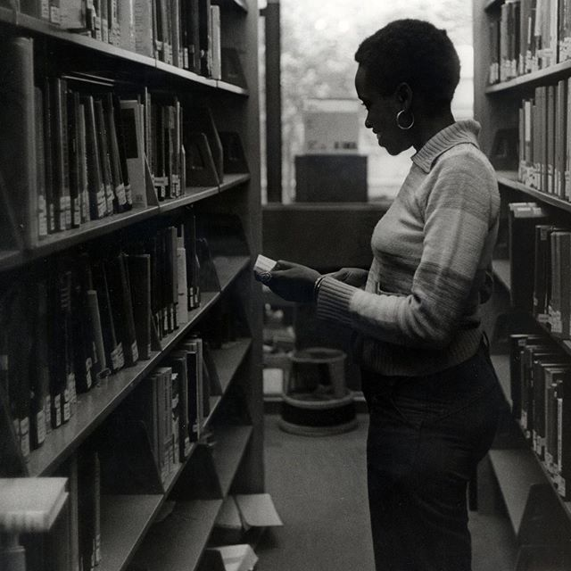 Archival photo of Gutman Library stacks