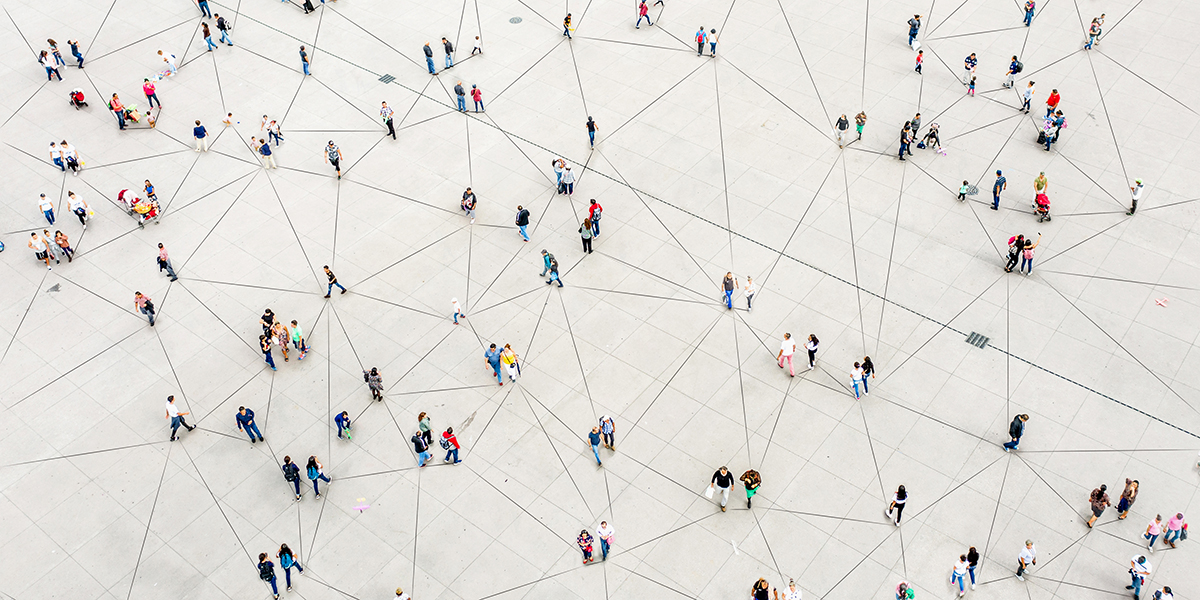 many interconnected people from above