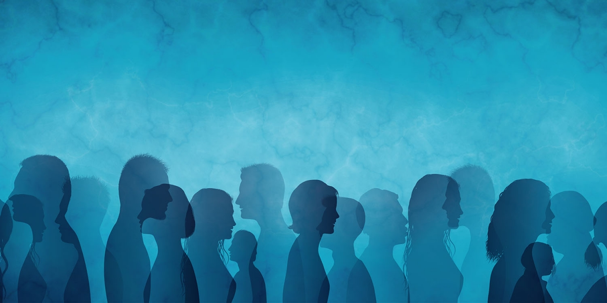 Profiles of group of people on blue background