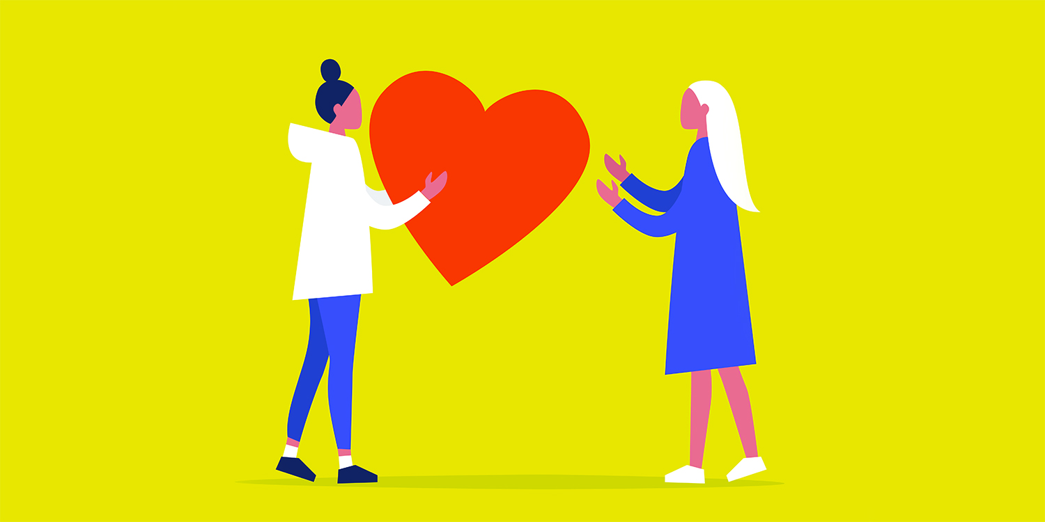 Modeling empathy illustration of two women passing a heart shape