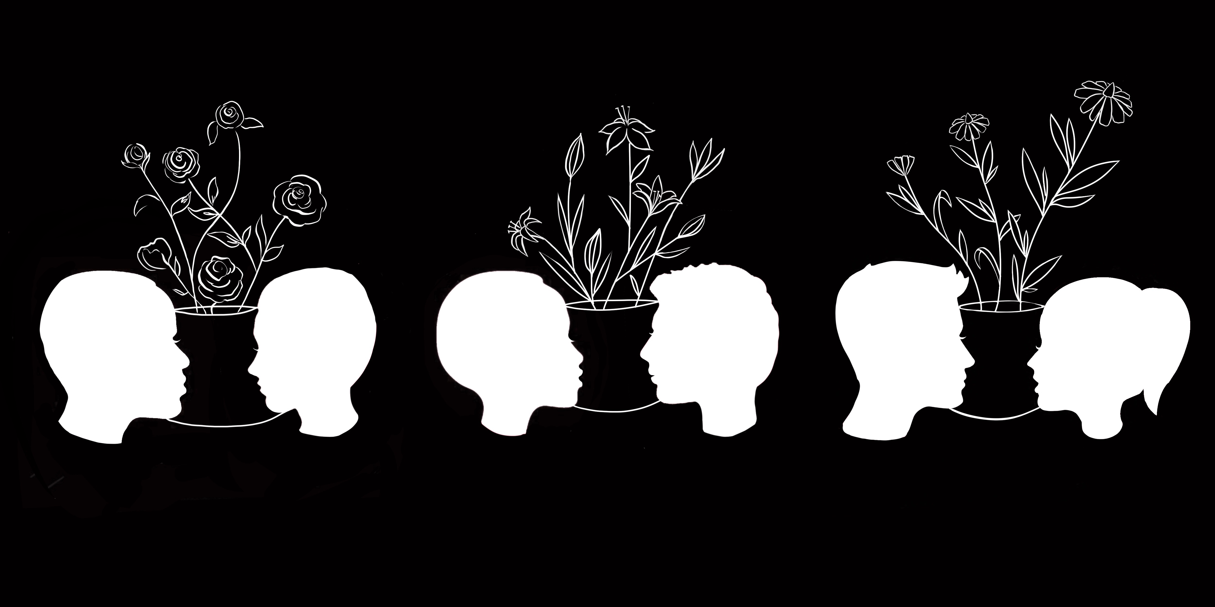silhouettes of faces, with abstract flowering plants drawn between them, against black background
