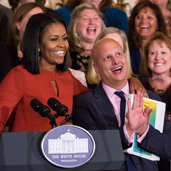 Michelle Obama and Eric Waldo at a Reach Higher event