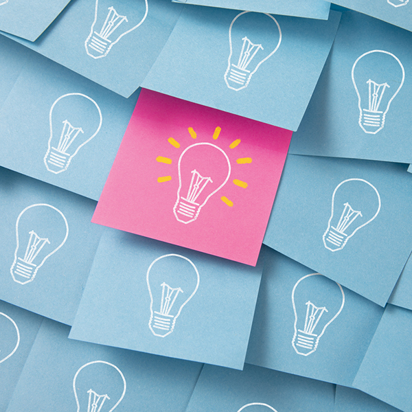 Light bulbs on post its