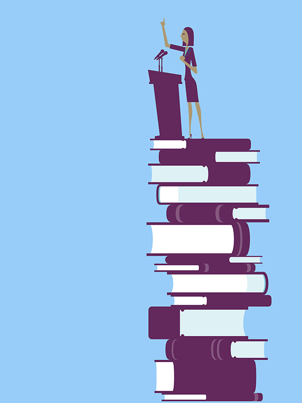 Illustration of leader atop stack of books