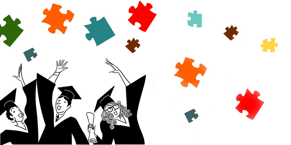 Illustration of graduates with colorful puzzle pieces