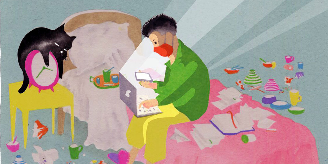 Illustration of kid on bed in a mask by Brian Cronin