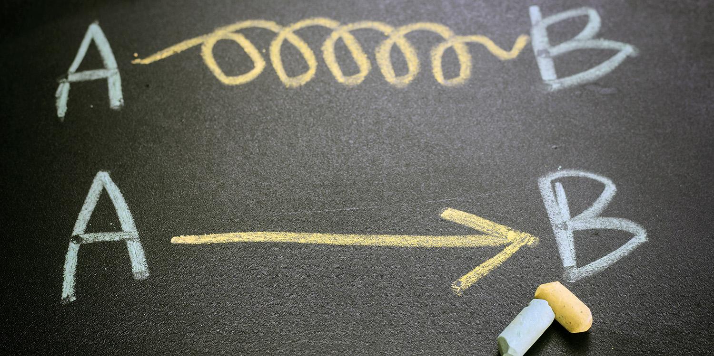 A to B written on chalkboard