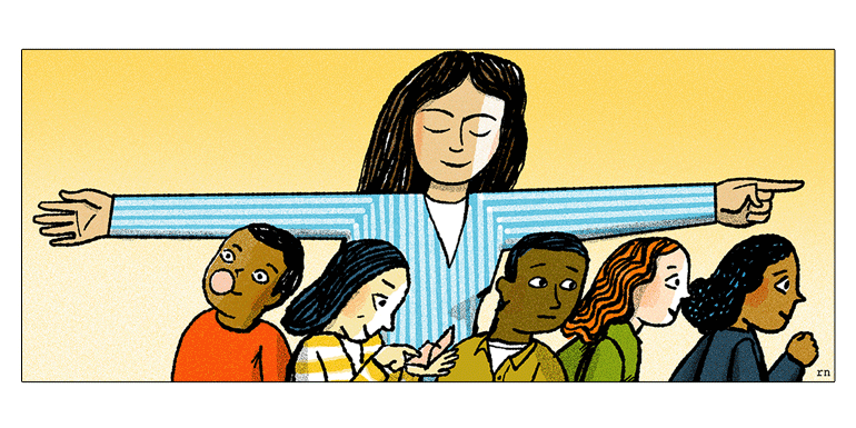 illustration of a teacher with several children