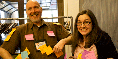 Two teachers at Scratch Ed teacher conference