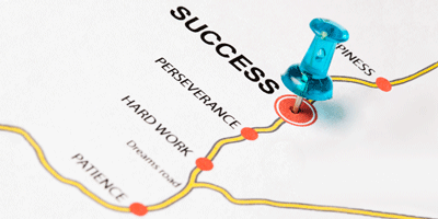 A road map with words that has a blue push pin on the word success