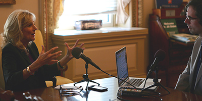 Second Lady Jill Biden recording an EdCast