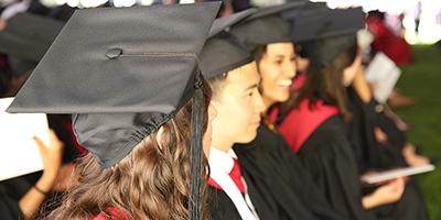 Happy graduates at Commencement ceremony