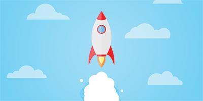 illustration of rocket blasting off