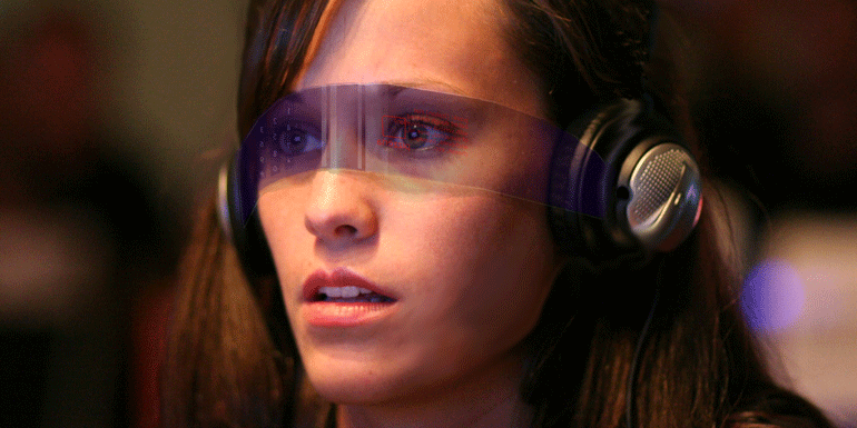 woman wearing augmented reality glasses