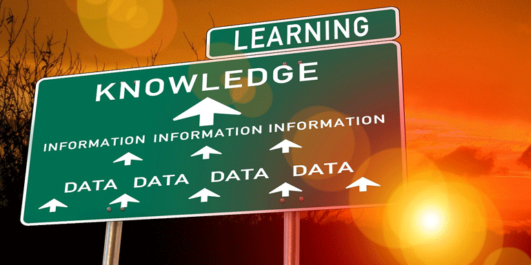 road sign that says data, information, knowledge, learning
