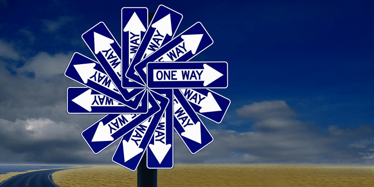 "llustration of many ""one way"" signs going in different directions"