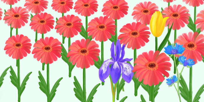 An illustration of mostly pink flowers with a purple and yellow flower mixed in