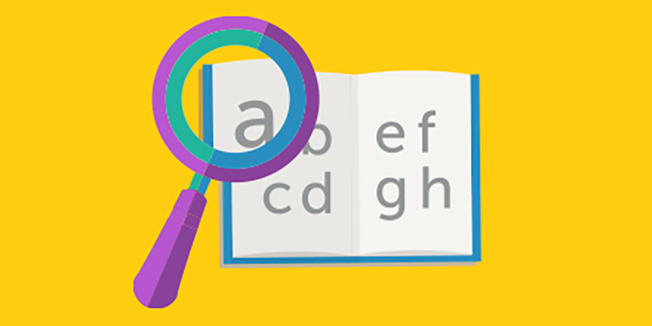An illustration of a book with a magnifying glass on a yellow background
