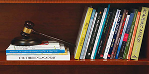 Bookshelf and gavel