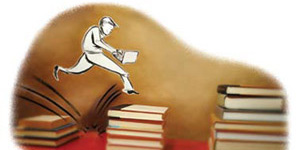 Illustration, person hopping stacks of books
