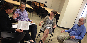 photo of faculty Paul Reville, Heather Hill and Daniel Koretz with Mary Tamer of Usable Knowledge