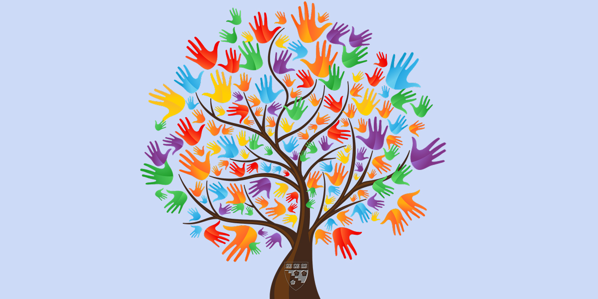 Tree of colorful hands