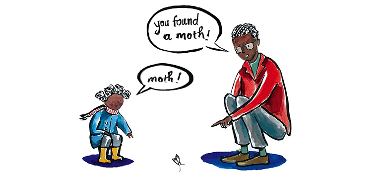 Drawing of a little girl and father talking about the moth