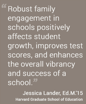 Robust family  engagement in schools positively  affects student growth, improves test scores, and enhances the overall vibrancy and success of a school. - Jessica Lander EdM '15 #hgse #usableknowledge @harvardeducation