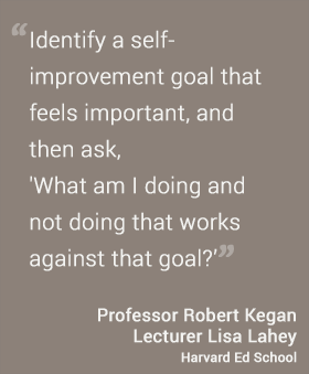 Identify a self-improvement goal that feels important, and then ask --What am I doing and not doing that works against that goal?-- RObert Kegan and Lisa Lahey, HGSE