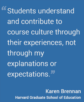 Students understand and contribute to course culture through their experiences, not through my explanations or expectations.
