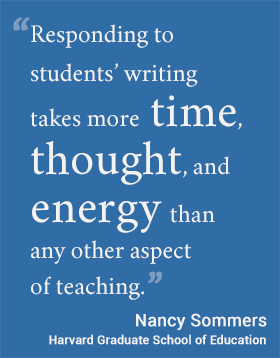 Responding to students' writing takes more time, thought, and energy than any other aspect of teaching. - Nancy Sommers #usableknowledge #hgse #writing @harvarded