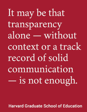 It may be that transparency alone — without context or a track record of solid communication -- is not enough. #hgse #usableknowlege @harvarded
