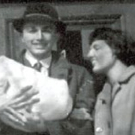 Dick and Meg with their son on the steps of their Chauncy Street apartment in 1962