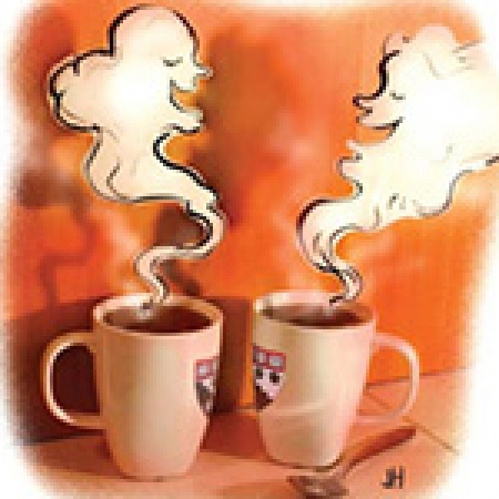 Illustration, two mugs of coffee with steam