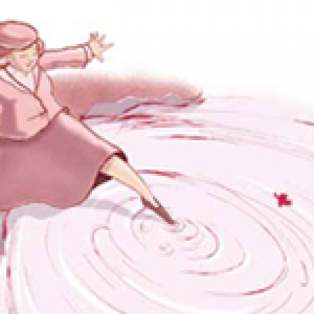 Illustration, woman dipping toe in water puddle