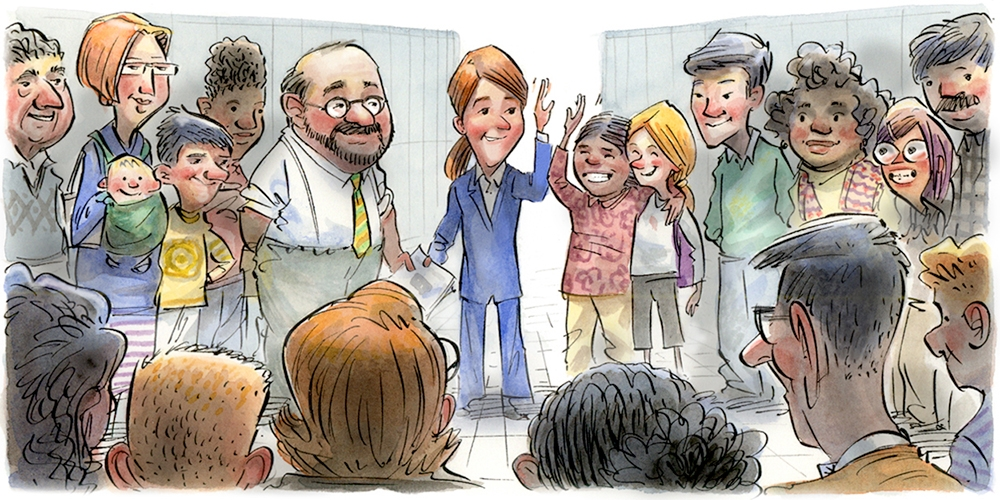 Cartoon of teacher, standing in a circle with students and other teachers, high-fiving one student