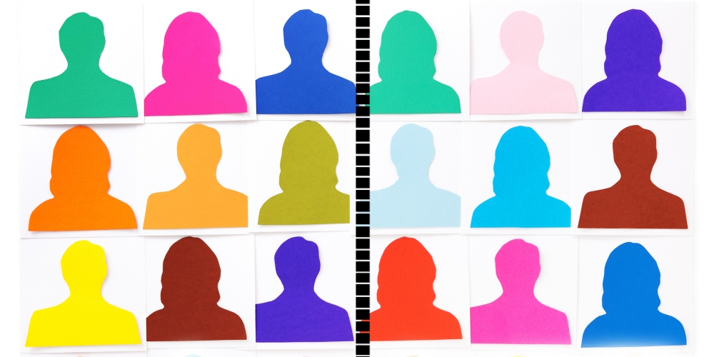 Colorful collage of silhouettes.