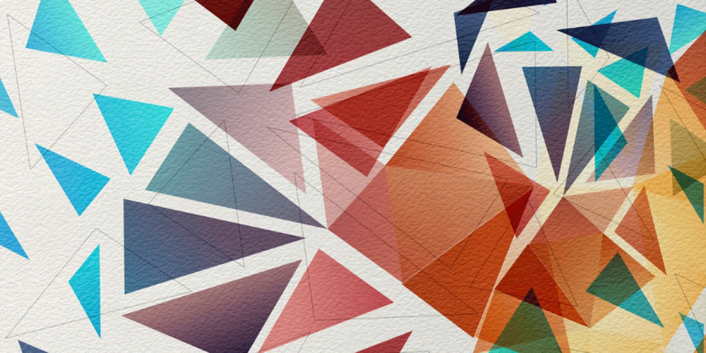 abstract geometric pattern of colored triangles and intersecting lines