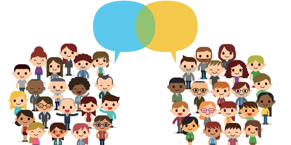 Colorful cartoon illustration of two groups of people listening to each other