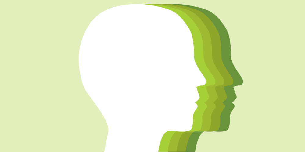 An illustration of a silhouette of a person's head, in multiple shades of green
