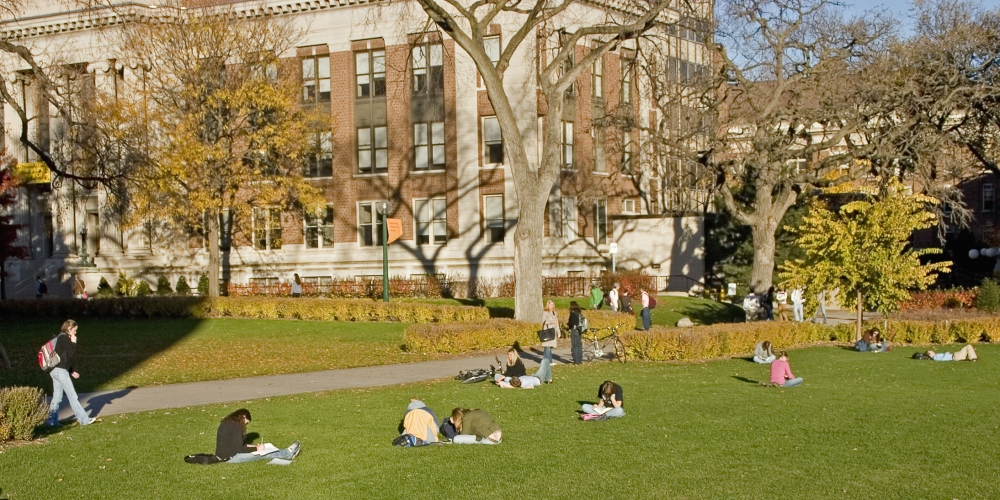 College campus in fall