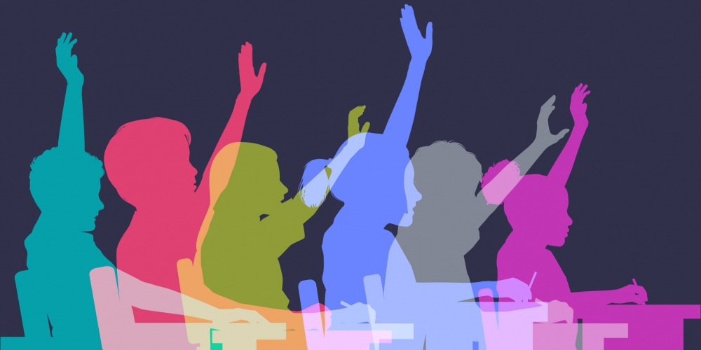 Colorful profiles of students raising hands in class