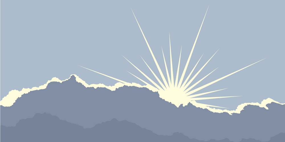 sun through clouds illustration
