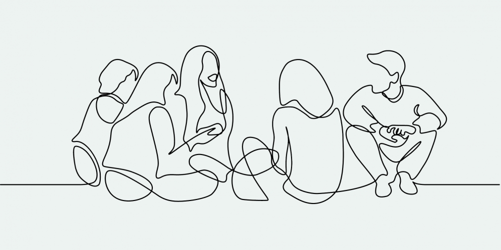 Line drawing of students conversing