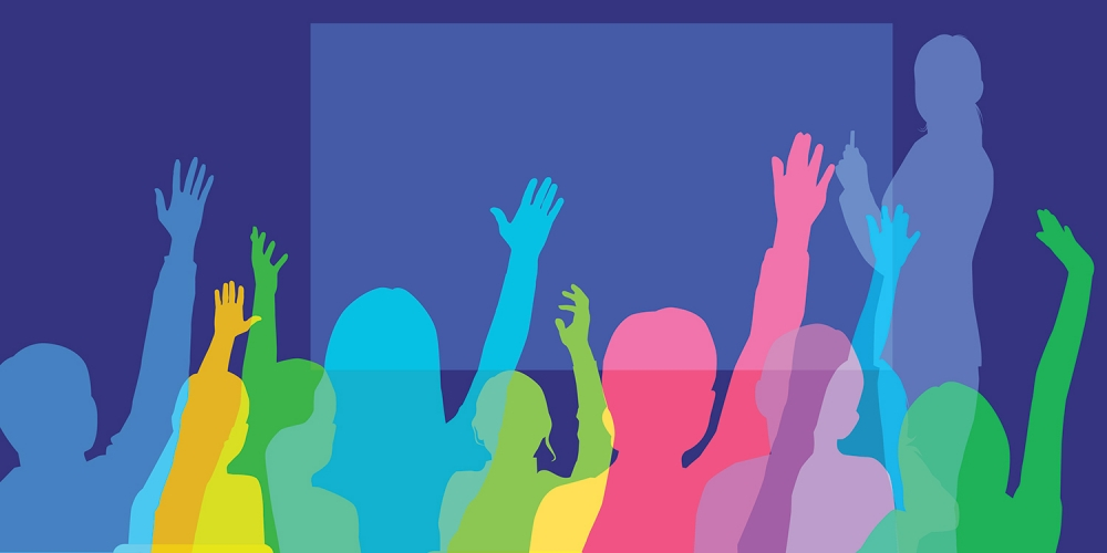 Colorful graphic of school children with raised hands, facing teacher at chalkboard